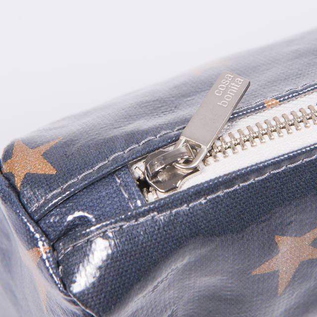 Fiambalá Pouch, plasticized, blue with cooper stars on internet