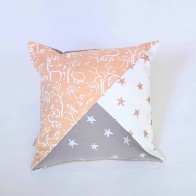 Scooby Cushion, Salmon & taupe - online store