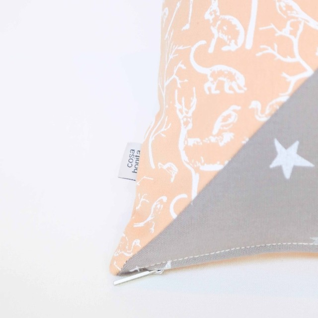 Image of Scooby Cushion, Salmon & taupe
