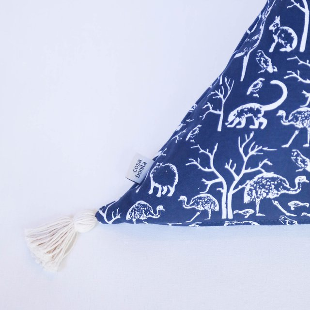 Triangle Cushion, blue with white animals - buy online