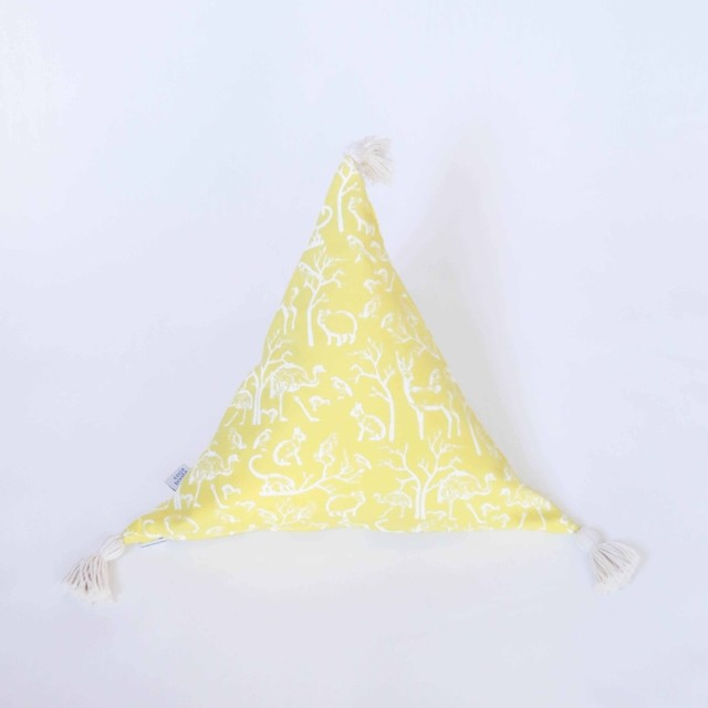 Triangle Cushion, yellow with white animals - buy online