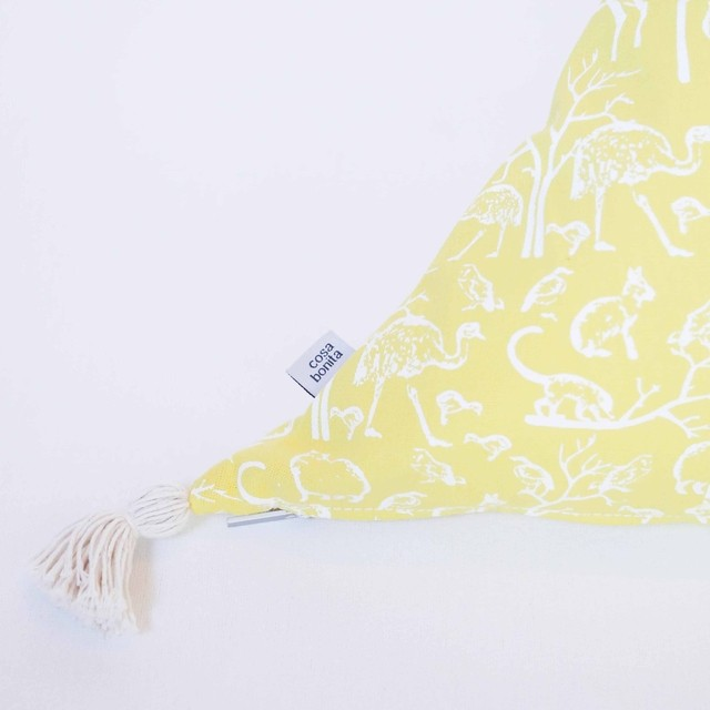Triangle Cushion, yellow with white animals on internet
