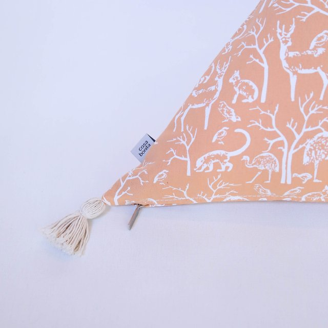 Triangle Cushion, salmon with white animals - buy online
