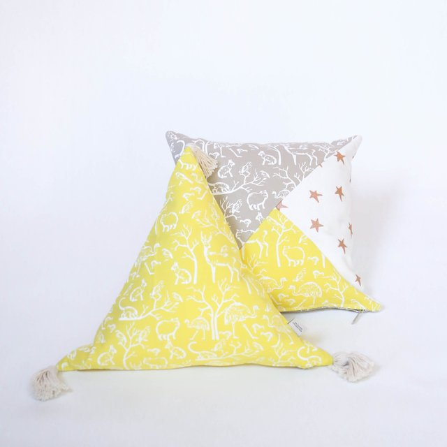 Scooby Cushion, beige & yellow on internet