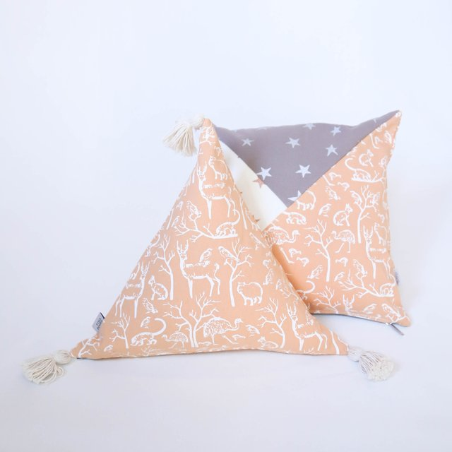 Triangle Cushion, salmon with white animals on internet