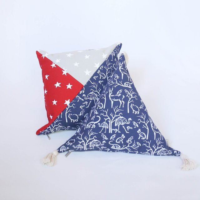 Triangle Cushion, blue with white animals on internet
