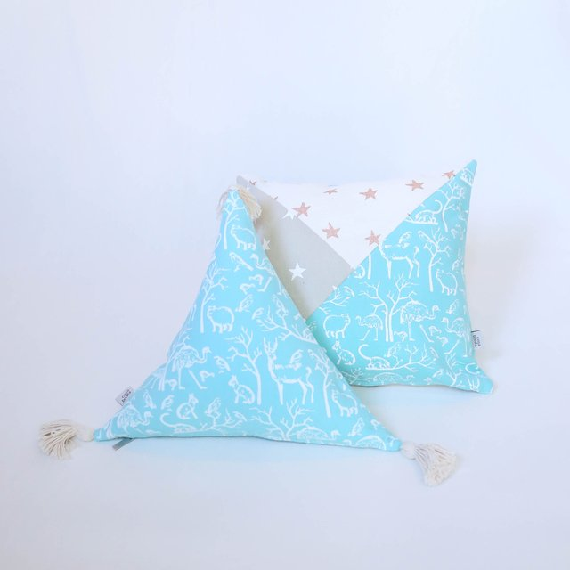 Triangle Cushion, aqua with white animals - buy online