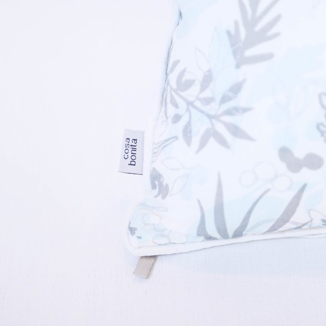 Amatista Cushion, light blue & silver leaves on internet
