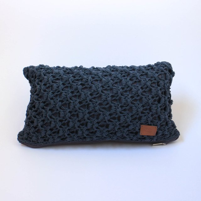 Small Origami Cushion, dark grey eyelet stitch