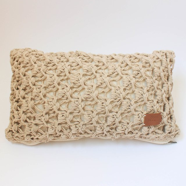 Small Origami Cushion, beige eyelet stitch - buy online
