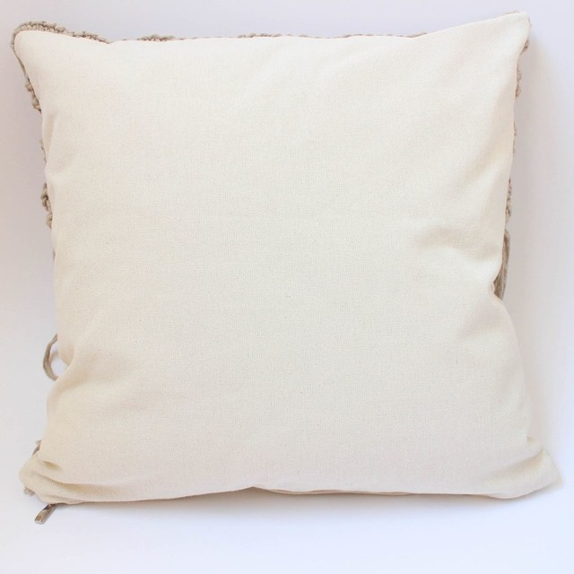 Tall Hortensia Cushion, beige with fringed stitch - buy online