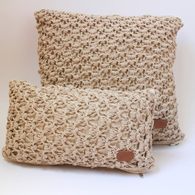 Small Origami Cushion, beige eyelet stitch