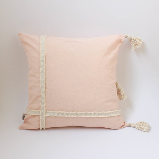Medium Jazmin Cushion, pink with ecru fringes - buy online