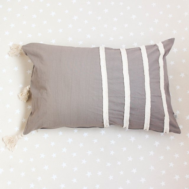 Tall Jazmin Cushion, taupe with ecru fringes - buy online