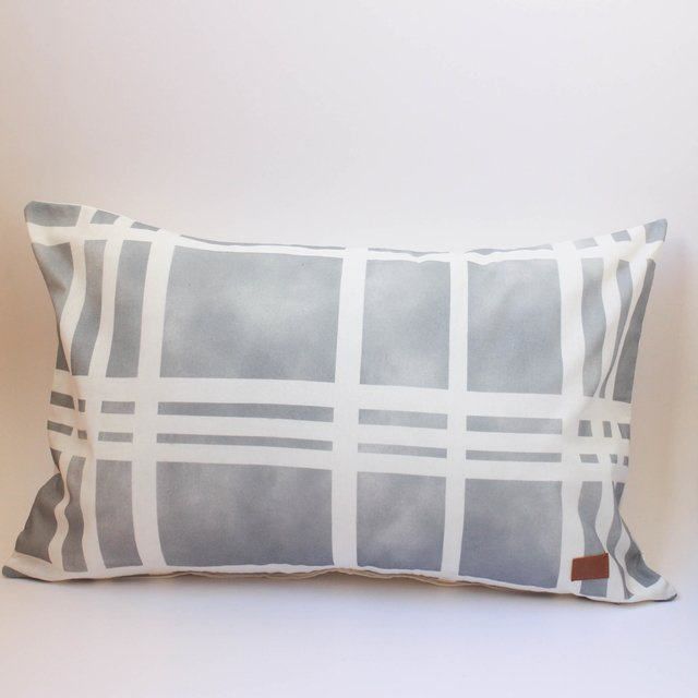 Medium Santa Rita Cushion, silver tartan - buy online