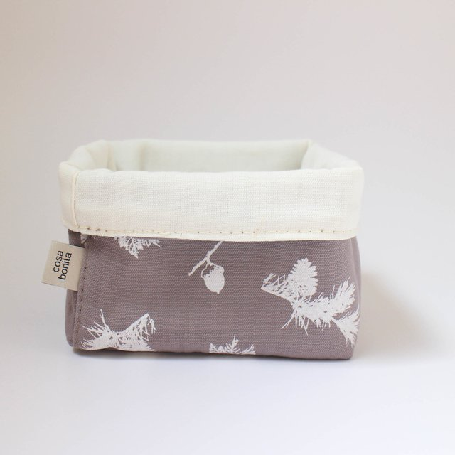 Small Basket, taupe with white pine cones - buy online