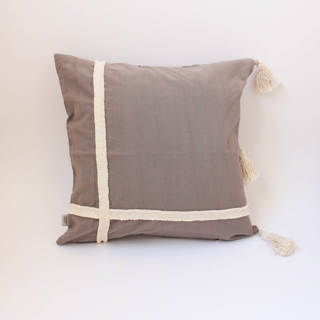 Medium Jazmin Cushion, taupe with ecru fringes