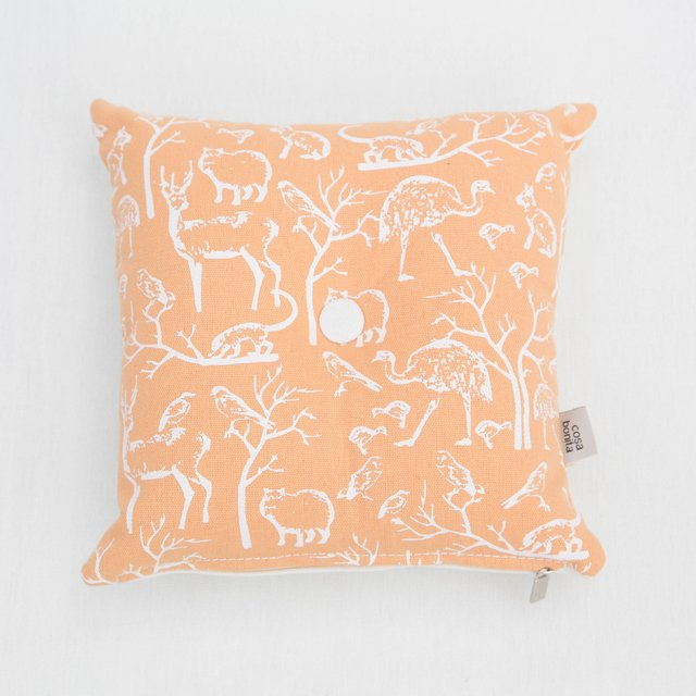 Magoo Cushion, salmon with white animals