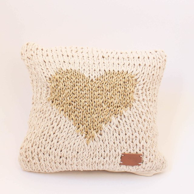 Small Washi Cushion, ecru with gold heart - buy online