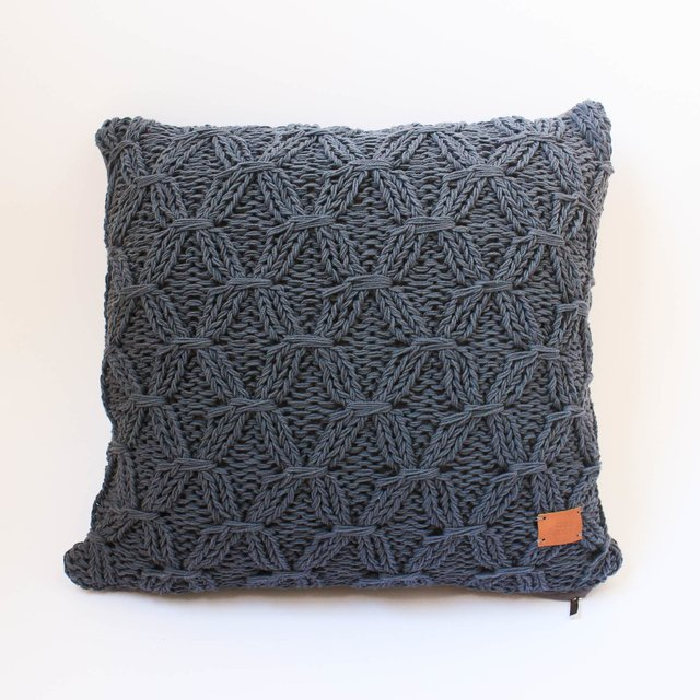 Medium Kusudama Cushion, dark grey with cross stitch - buy online
