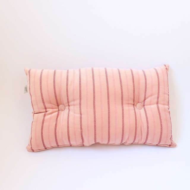 Magoo Cushion, pink striped velvet - buy online