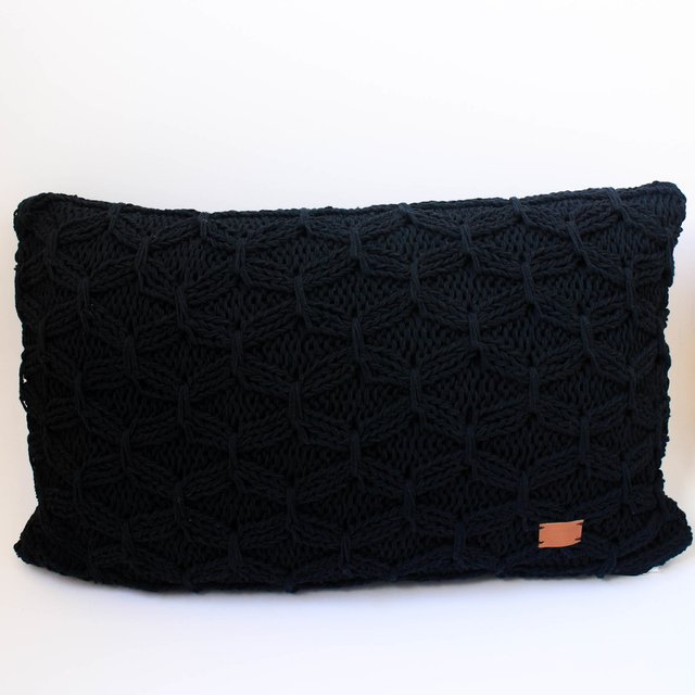 Tall Kusudama Cushion, black with cross stitch - buy online