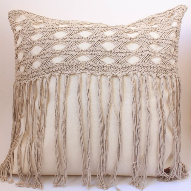 Tall Hortensia Cushion, beige with fringed stitch