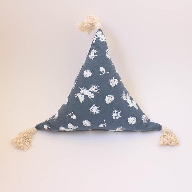 Triangle Cushion, blue with white pine cones - buy online