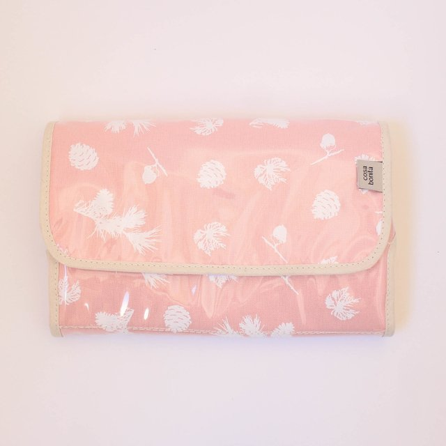 Portable Changing Mat, pink with white pine cones
