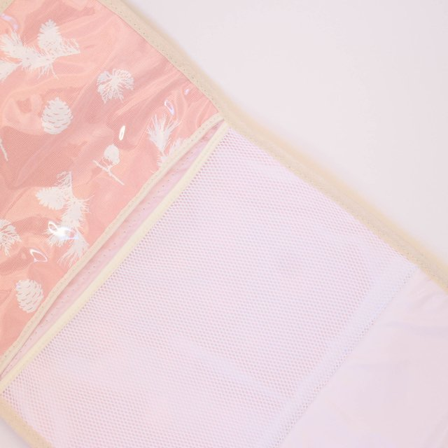 Portable Changing Mat, pink with white pine cones - buy online