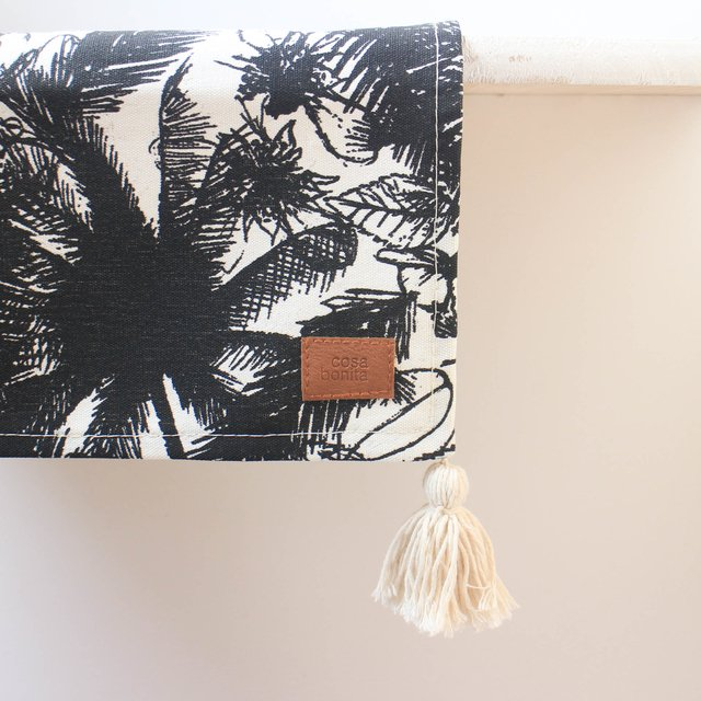 Table Runner, ecru with black palm trees - buy online