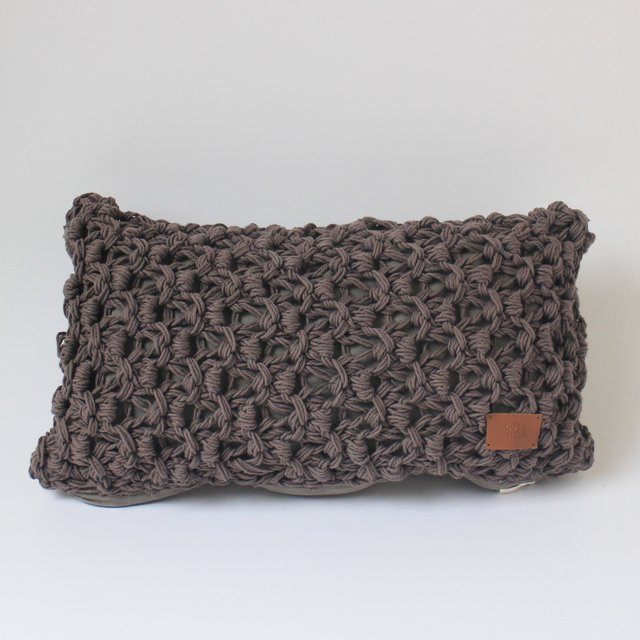 Small Origami Cushion, taupe eyelet stitch - buy online