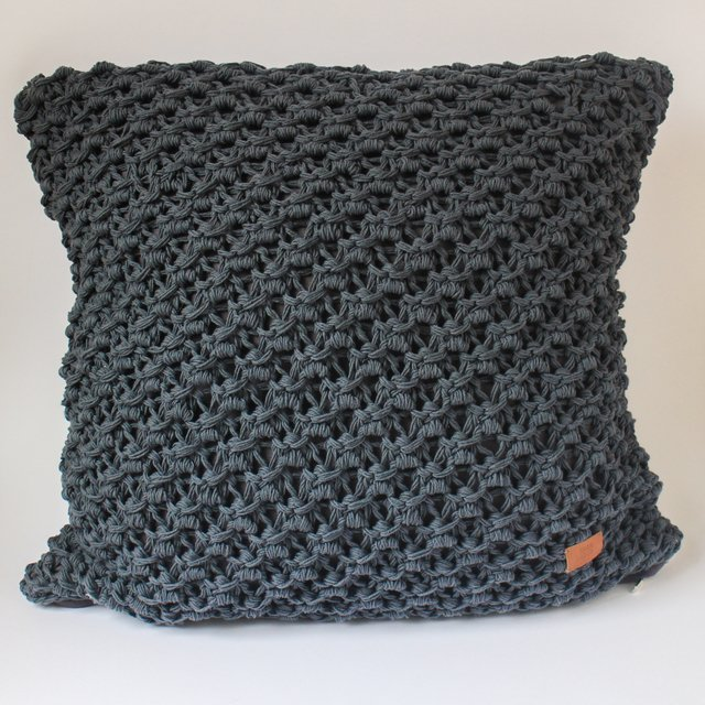 Tall Origami Cushion, dark grey eyelet stitch