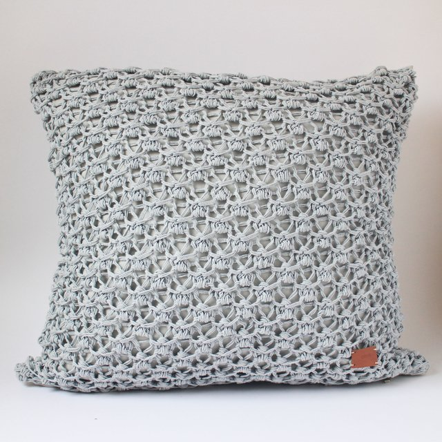 Tall Origami Cushion, pearl grey eyelet stitch