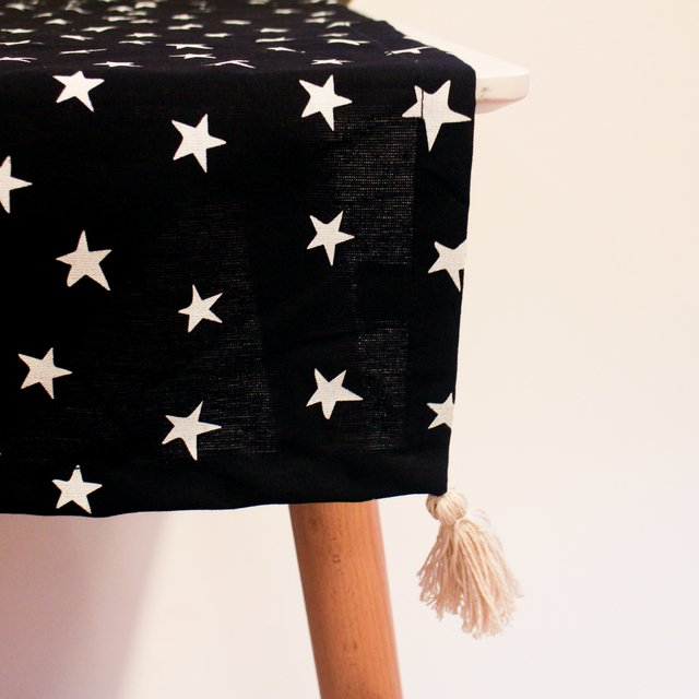 Table Runner, black with white stars on internet