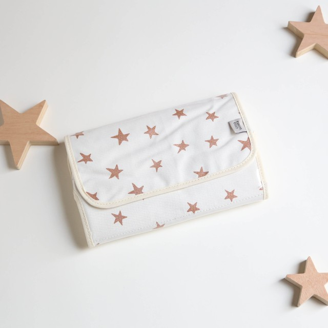 Portable Changing Mat, ecru with cooper stars - online store