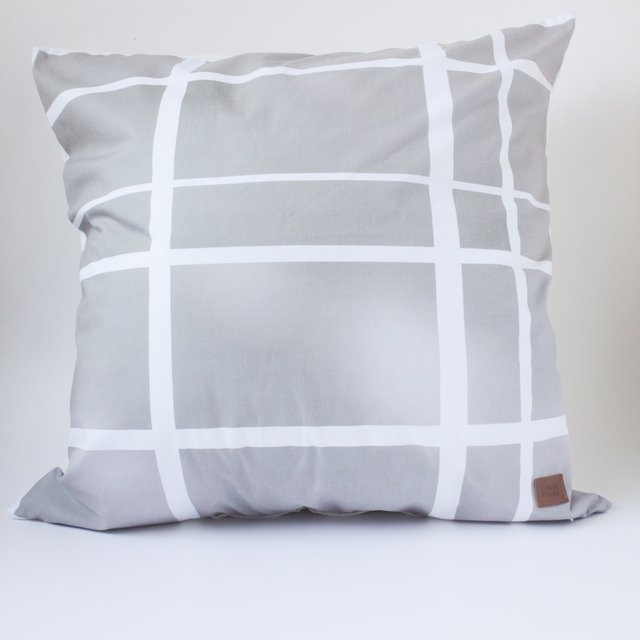 Tall Santa Rita Cushion, taupe tartan