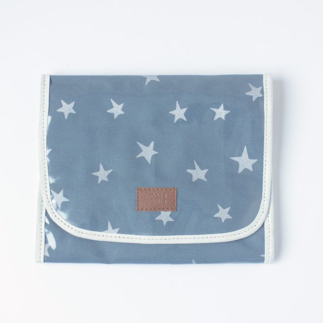 Aguamarina Pouch, plasticized, blue with silver stars