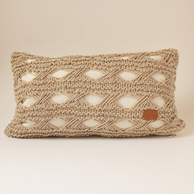 Small Hortensia Cushion, beige with eyelet stitch - buy online