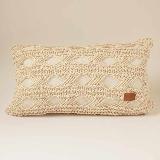 Small Hortensia Cushion, ecru with eyelet stitch - buy online