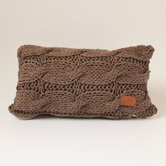 Nara Cushion, taupe cable stitch - buy online