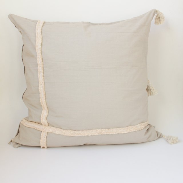 Tall Jazmin Cushion, beige with ecru fringes - buy online