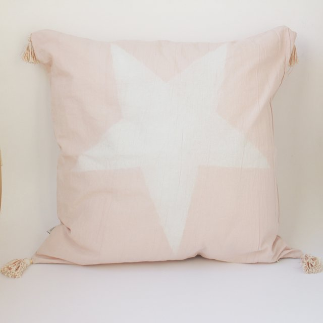 Tall Skytree Cushion, pink with ecru star - buy online