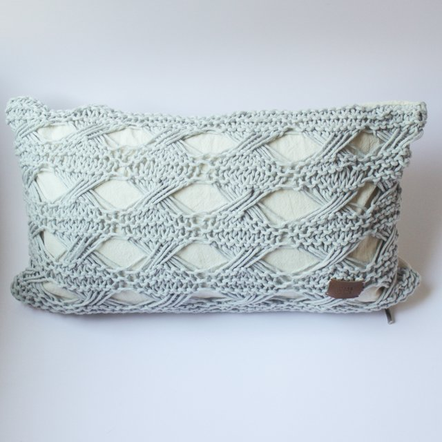 Small Hortensia Cushion, pearl grey with eyelet stitch - buy online