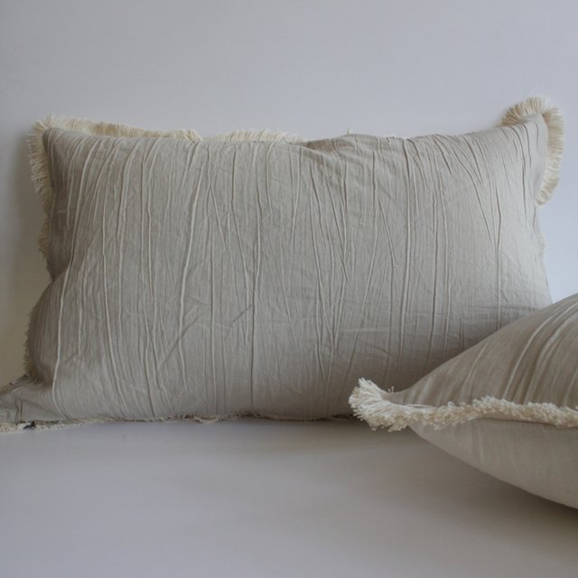 Tall Jazmin Cushion, beige with ecru fringes (copia) (copia) (copia) - buy online