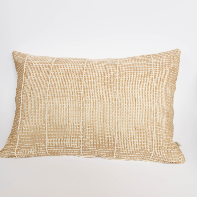 Yute Cushion, beige with ecru embroider - buy online