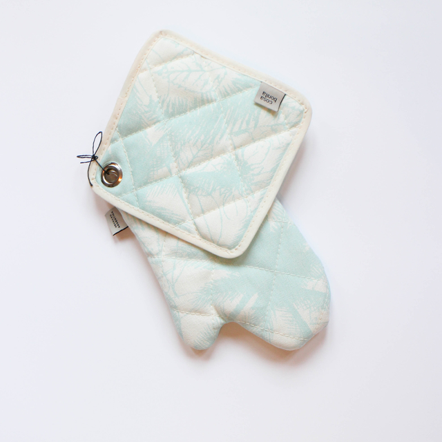 Traful Pot Holder & Oven Mit, ecru with light blue palm trees - buy online