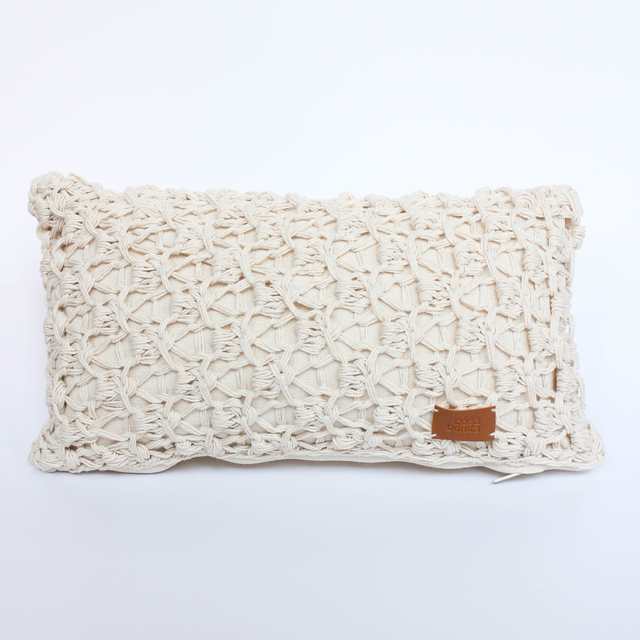 Small Origami Cushion, ecru eyelet stitch - buy online