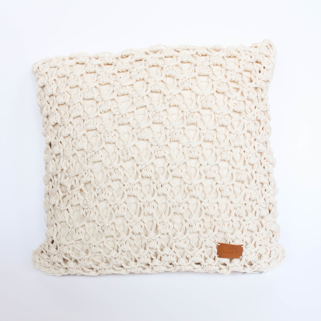 Medium Origami Cushion, ecru eyelet stitch - online store
