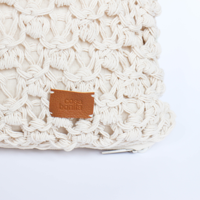 Image of Medium Origami Cushion, ecru eyelet stitch